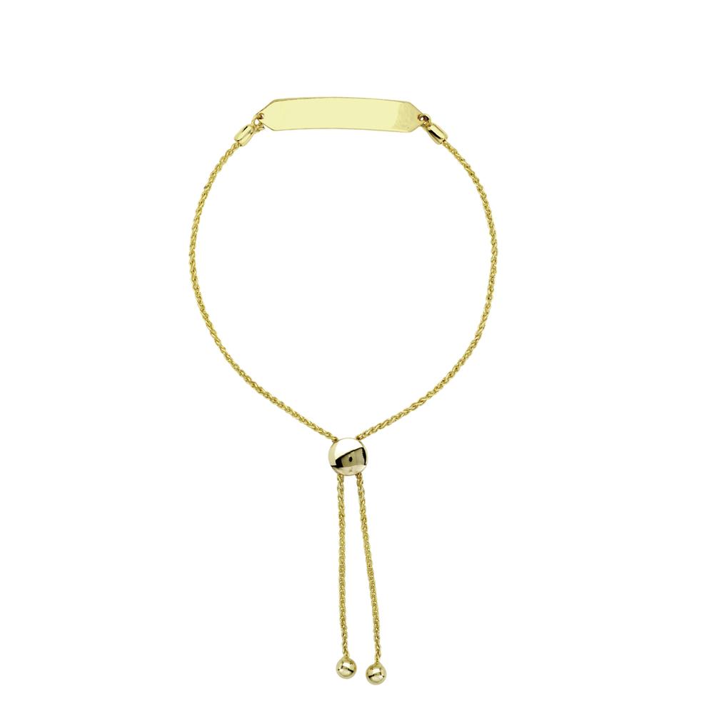 14k gold personalized id bar bracelet stoned by suzy
