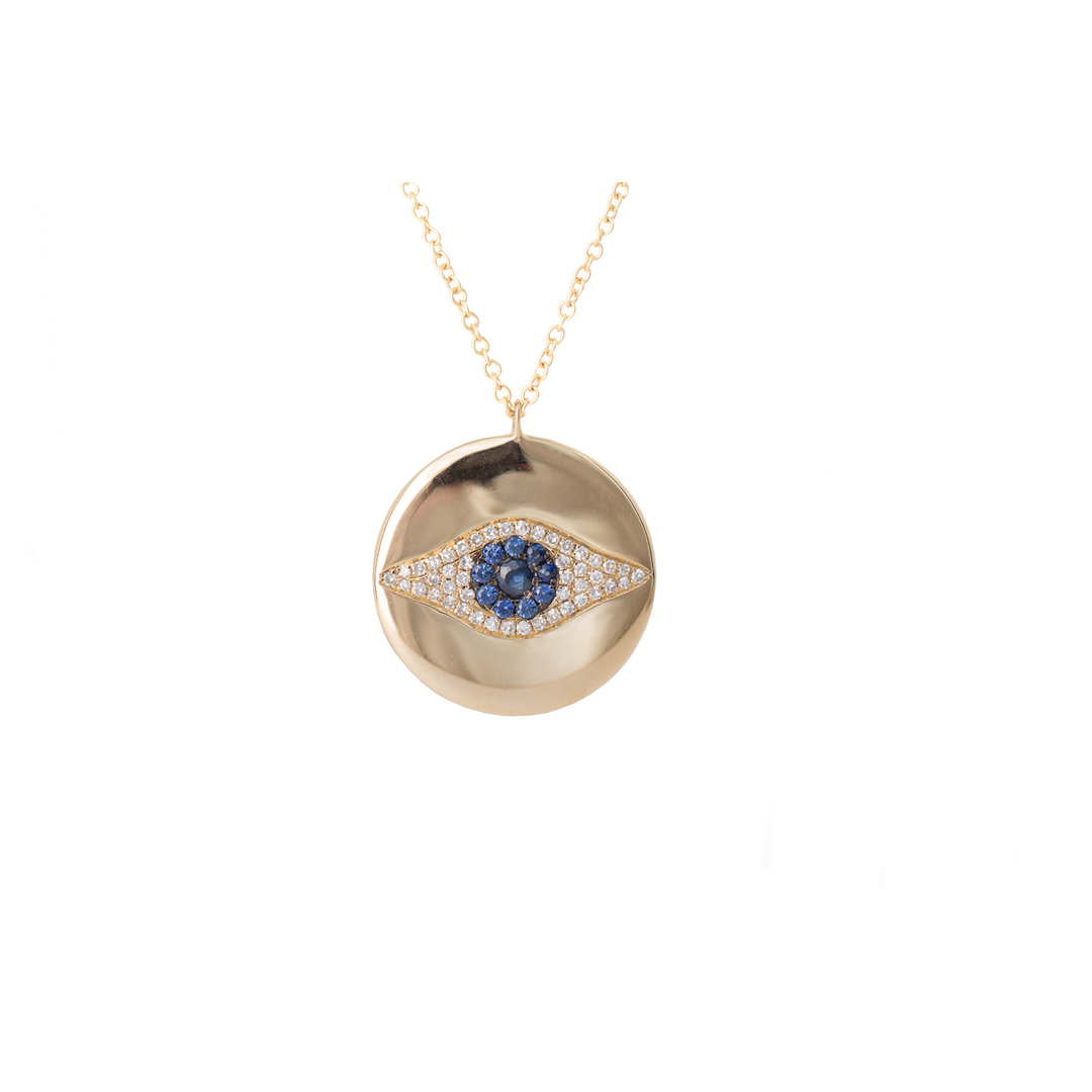 Diamond And Sapphire Necklace Yellow Gold