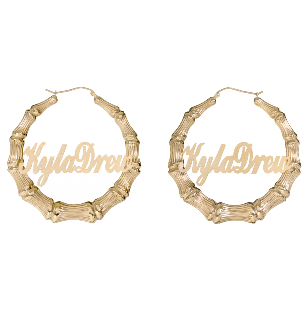 14k Yellow Gold Personalized Door Knocker Bamboo Earrings