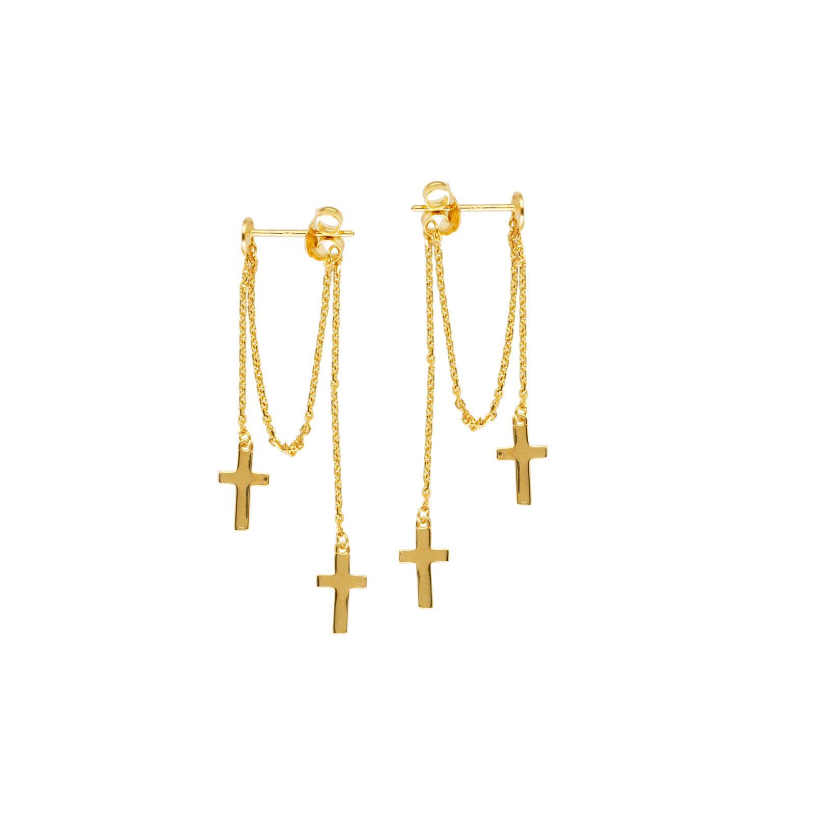 14k Gold Double Cross Dangle Chain Earrings